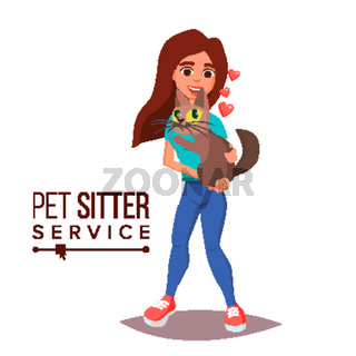 Cat Pet Sitter Service Vector. Professional Pet Sitter Woman. Cat Walking Service. Isolated On White Cartoon Character Illustration