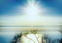 Sunrise over the winter sea shore