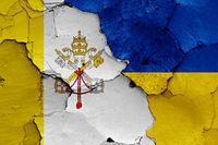 flags of Vatican and Ukraine