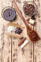 Variety of delicious chocolate on wooden background