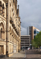 a view along bradford city hall looking along channing way toward the car park and interchange