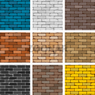 Vector brick wall set