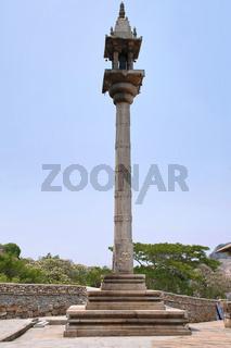 Manasthambha, Pillar in front of Parsvanatha basadi or basti, Chandragiri hill, Sravanabelgola, Karnataka.