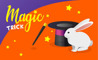 Vector banner with funny white rabbit, magic hat and wand. Trick with a rabbit out of a hat. Little white rabbit, black top hat and magic wand for magic tricks vector