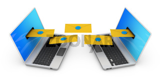 Two laptops with envelopes
