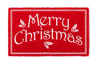 Merry Christmas Red Welcome Mat Isolated on White Background