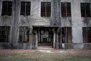 MIYAJIMA, JAPAN - FEB 04, 2018: Abandoned poison factory of war in Miyajima Rabbit island