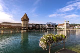 Lucerne (Luzern) Switzerland, city skyline at Chapel Bridge