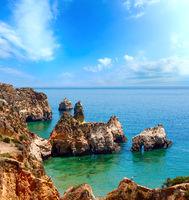 Summer Atlantic rocky coastline (Algarve, Portugal).