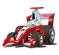 Vector cartoon formula 1 race car isolated on white