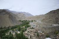 Fotu La or Fatu La is a mountain pass on the Srinagar-Leh highway in background. Taken from Lamayuru Monastery. Ladakh, India.