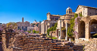 Historic Roman Forum in Rome scenic springtime view
