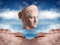 Modern conceptual art poster with ancient statue of bust of Diana. Collage of contemporary art.