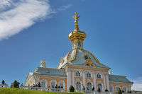 People visiting famous landmark of Peterhof, close to city of St. Petersburg in Russia