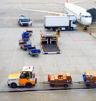 Airplanes, parcels, luggage carrier, airport