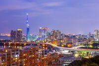 Hakata skyline at night in Fukuoka, Japan