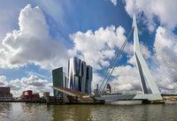 Erasmus bridge and Rotterdam cityscape - Netherlands