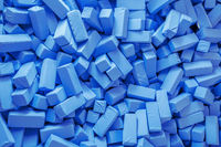 some soft blue foam cuboids