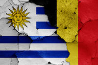 flags of Uruguay and Belgium