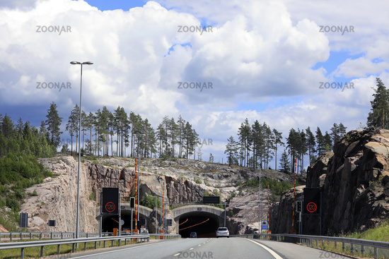 Freeway Landscape of Tunnel and Sky