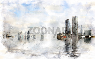 watercolor conceptual image of the city of london with buildings flooded due to global warming and rising sea levels and gulls