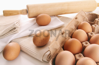 Fresh farm eggs on table