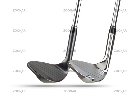 Chrome and Black Golf Club Wedge Irons on White Background