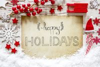 Red Christmas Decoration, Snow, Calligraphy Text Happy Holidays