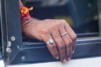 Hand of an elderly indian woman