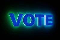 word VOTE with neon light