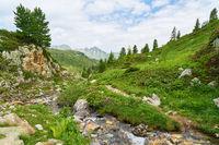 Berg Landschaft mit Bach und Bäumen