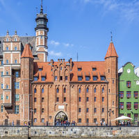 Mariacka Gate On The Waterfront Of The River Motlawa , Gdansk, Poland