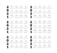 Set of 2021 year simple calendars on different languages like english, german, russian, french, spanish and chinese isolated on white