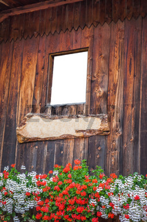 Wooden window on farmhouse