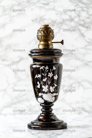 Old Brass Oil Lamp With Floral Motif without Glass Lid