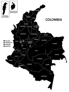 colombia administrativ and political vector map in black and white