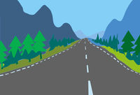 Digital illustration country asphalt road white lines