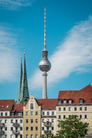 tv tower / Fernsehturm, most famous landmark in Berlin, Germany -