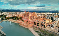 Aerial view Palma de Mallorca Cathedral  and cityscape. Spain