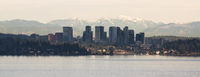 View Across Lake Washington to Bellevue Downtown City Skyline