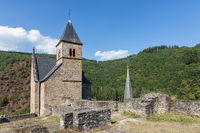 Castle ruin and church tower village Esch-sur-Sure in Luxembourg