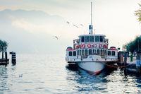 Lake Garda ferry moored at the port of Riva of Garda