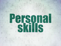 Learning concept: Personal Skills on Digital Data Paper background