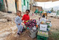 beautiful women preparing bunna coffee, Ethiopia