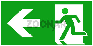 emergency exit sign  left - emergeny exit vector illustration