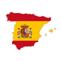 Spain country silhouette with flag on background, isolated on white