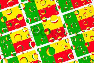 Rain drops full of Benin flags