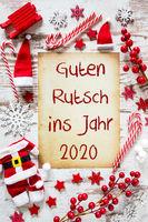 Bright Christmas Flat Lay, Guten Rutsch 2020 Means Happy New Year