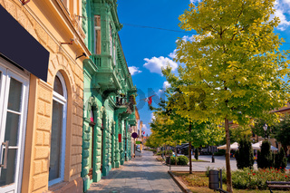 Town of Sombor street and architecture colorful view
