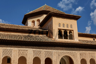 Decor within Courtyard of the Myrtles (Patio de los Arrayanes) in La Alhambra, Granada, Spain
